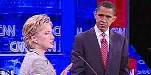 Hillary Clinton agus Barack Obama le seasamh le cheile in éadan McCain