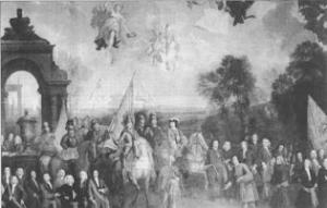 Liam Bui agus a lucht leanúna á bheannú ag an bPápa Innocent XI roimh Chath na Bóinne i bpórtráid de chuid Pieter Van de Meulen