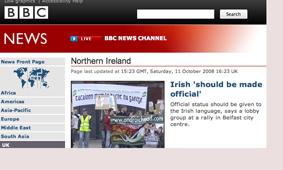 BBC ag aithint, faoi dheireadh, gur ann don Ghaeilge?